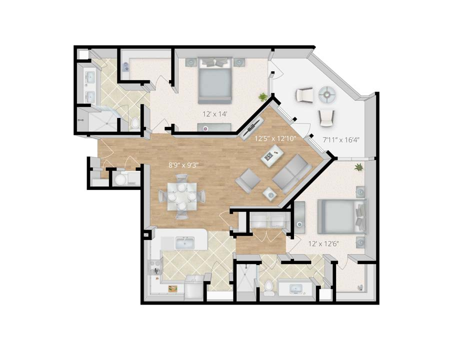 Newly Renovated 1 2 3 Bedroom Apartments In Viera Fl Melbourne - Floor-plan-2-bedroom-apartment