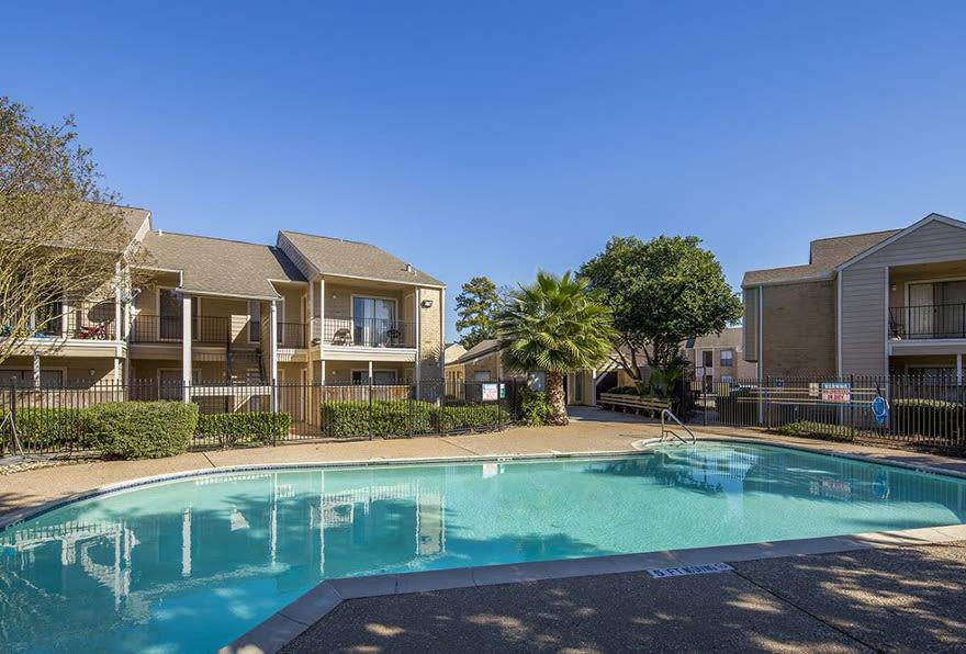 Sparkling swimming pool at Morgan Bay in Houston, TX