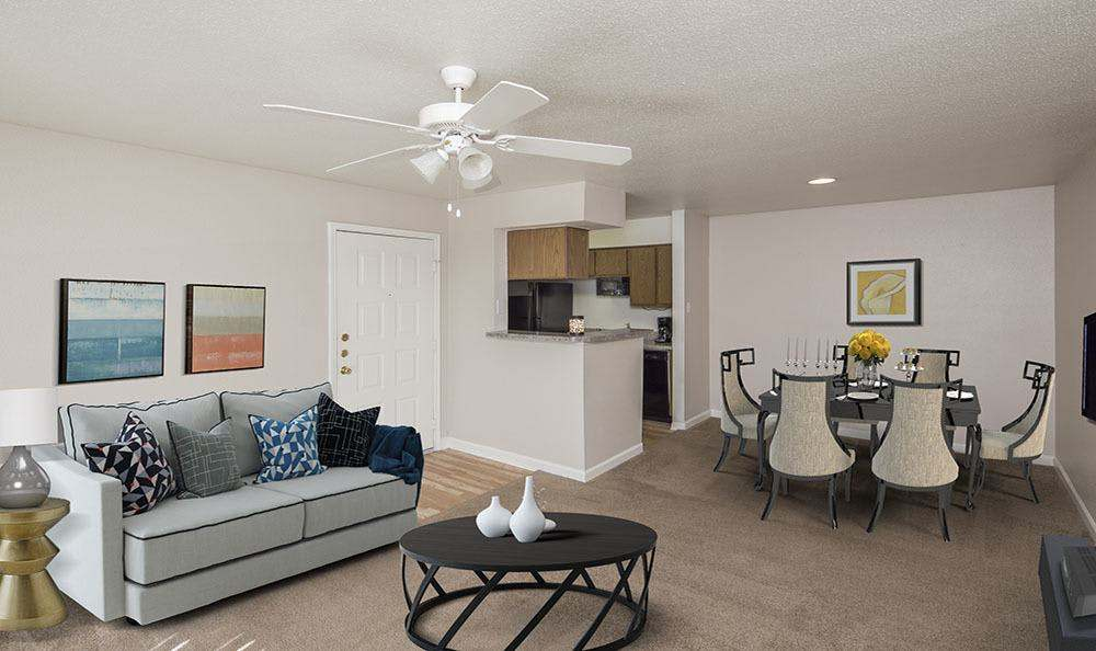 Spacious living room at Stone Ridge Apartments in Texas City