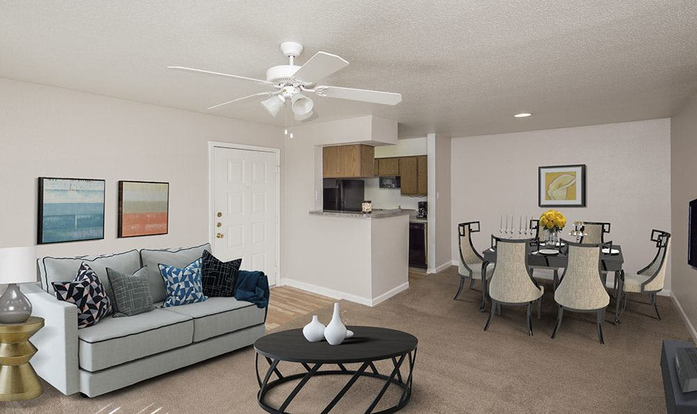 Beautifully designed living room at Stone Ridge Apartments home in Texas City, TX