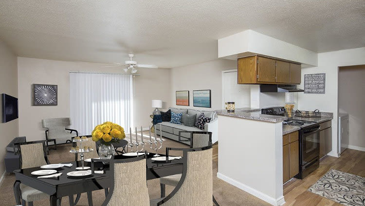 Our apartments in Texas City, TX showcase a beautiful kitchen and dining room