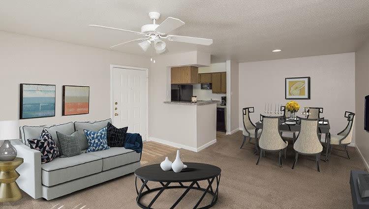 Spacious living room at Stone Ridge Apartments home
