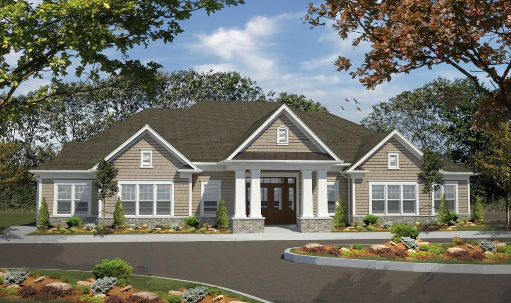 Front exterior of townhome at Woodland Acres Townhomes in Liverpool, NY