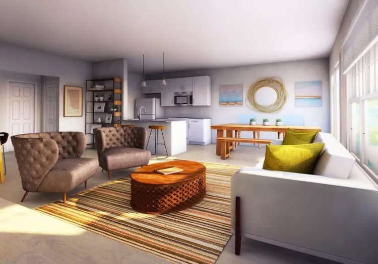 Woodland Acres Townhomes offers a state-of-the-art living room in Liverpool, NY