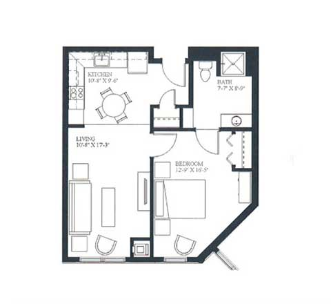One bedroom, 503 SQ FT