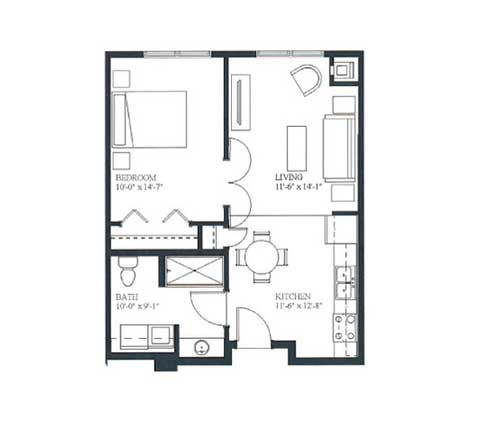 One bedroom, 576 SQ FT