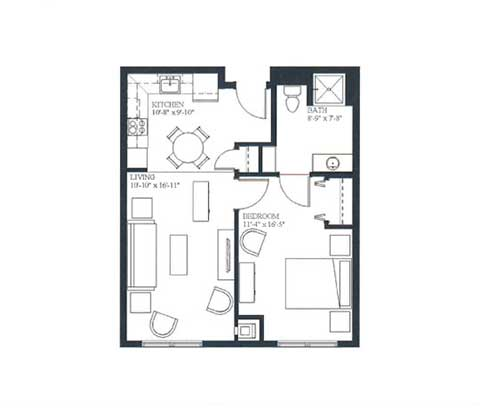 One bedroom, 590 SQ FT