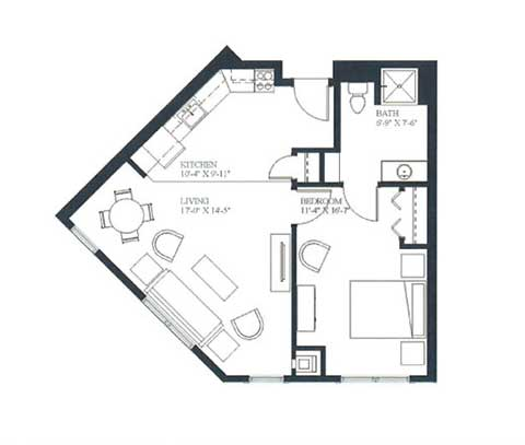 One bedroom, 641 SQ FT