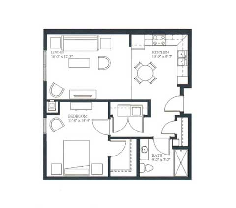 One bedroom, 718 SQ FT