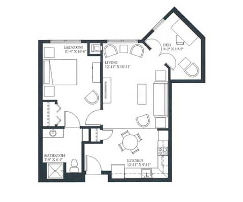 One bedroom and Den, 731 SQ FT