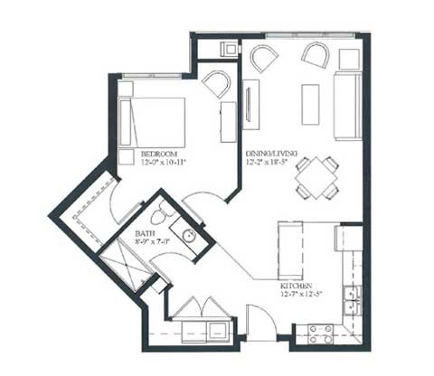 One bedroom, 732 SQ FT