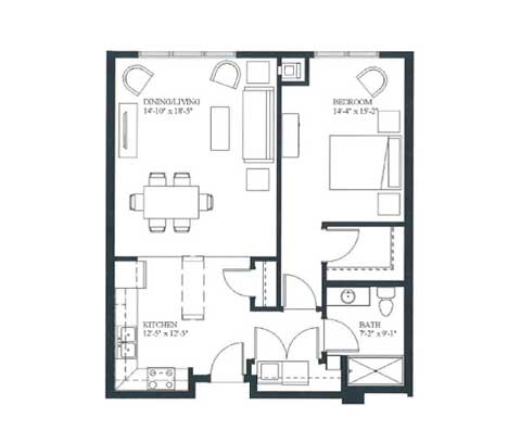 One bedroom, 807 SQ FT