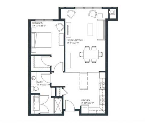 One bedroom, 819 SQ FT