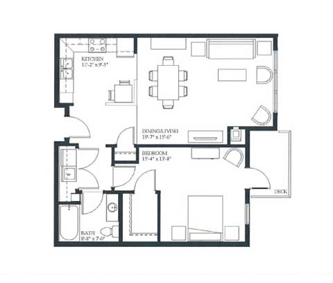 One bedroom, 828 SQ FT