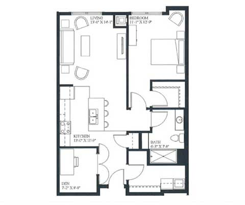 One bedroom and den, 838 SQ FT