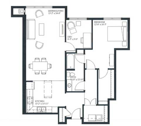 One bedroom and den, 1083 SQ FT