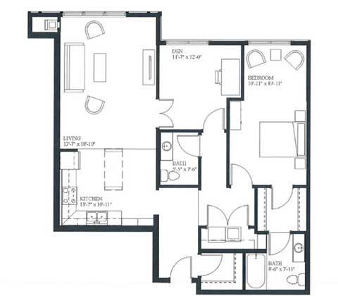 One bedroom and den, 1130 SQ FT