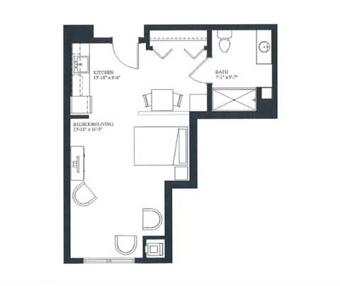 Studio apartment floorplan, 427 SQ FT