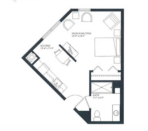 Studio apartment, 432 SQ FT