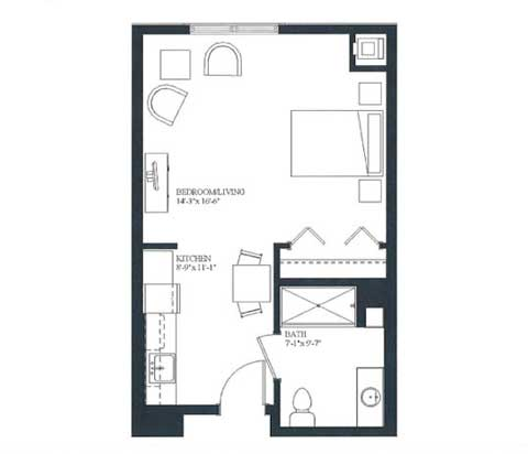 Studio apartment, 450 SQ FT