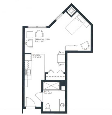 Studio apartment, 452 SQ FT