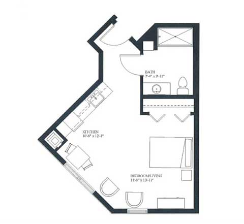 Studio apartment, 456 SQ FT