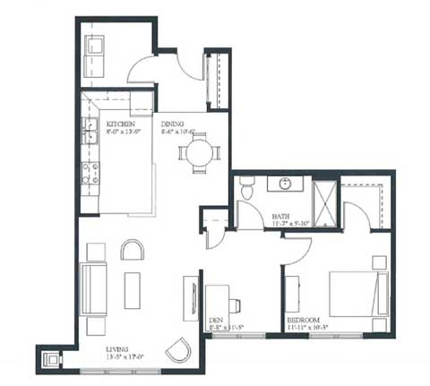 Two bedroom apartment, 940 SQ FT