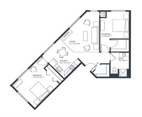 Two bedroom apartment, 942 SQ FT