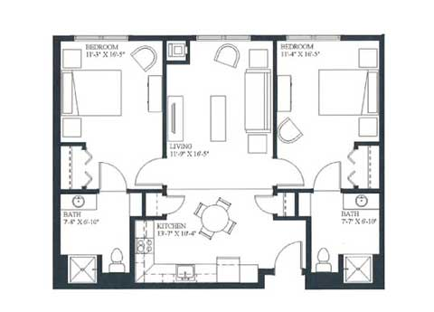 Two bedroom apartment, 925 SQ FT