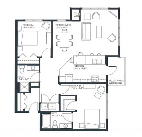 Two bedroom apartment, 1143 SQ FT