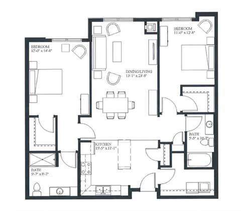 Two bedroom apartment, 1223 SQ FT