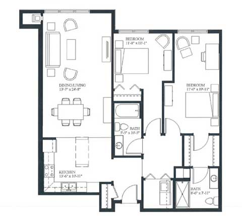 Two bedroom apartment, 1236 SQ FT