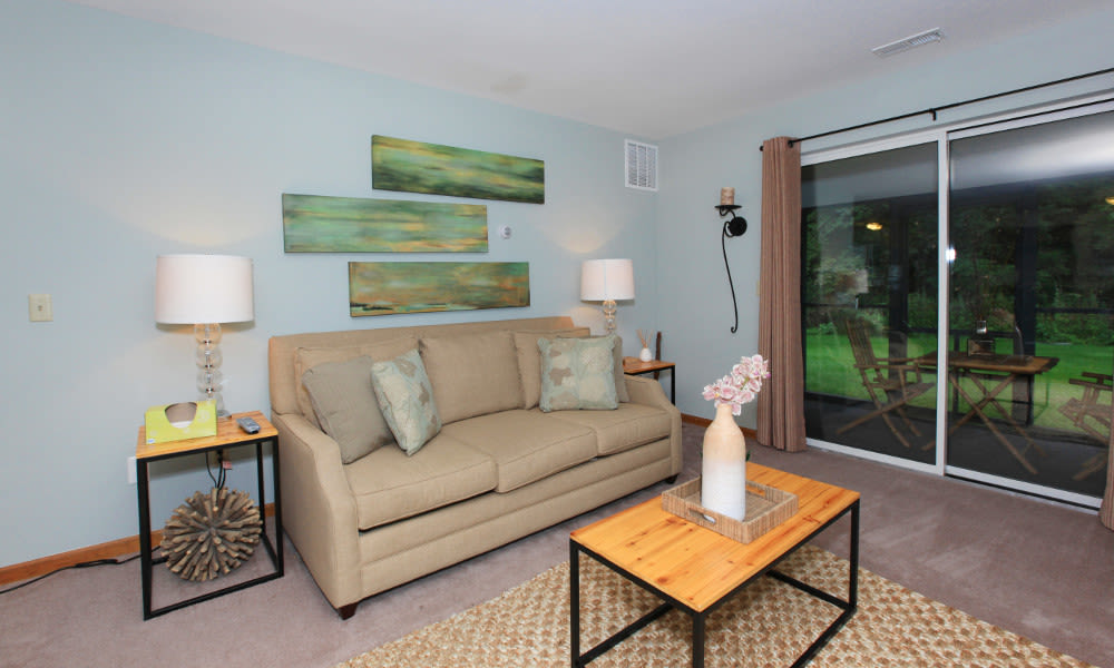 Cozy living room at Village Park Apartments