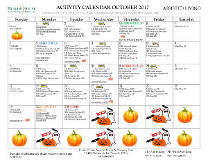 October Assisted Living Calendar