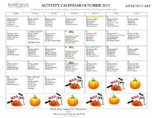 October Memory Care Calendar
