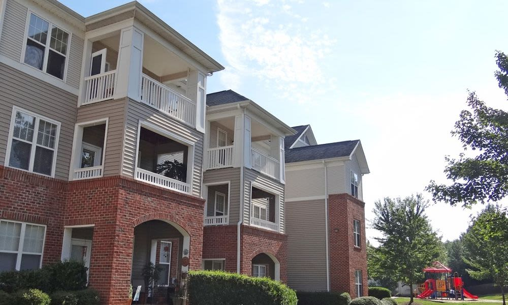 Beautiful apartment building at Heather Park Apartment Homes in Garner, NC