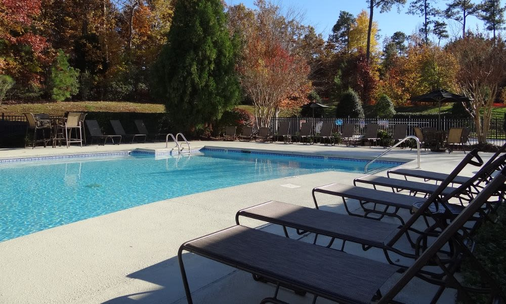 Beautiful swimming pool at Heather Park Apartment Homes in Garner, NC