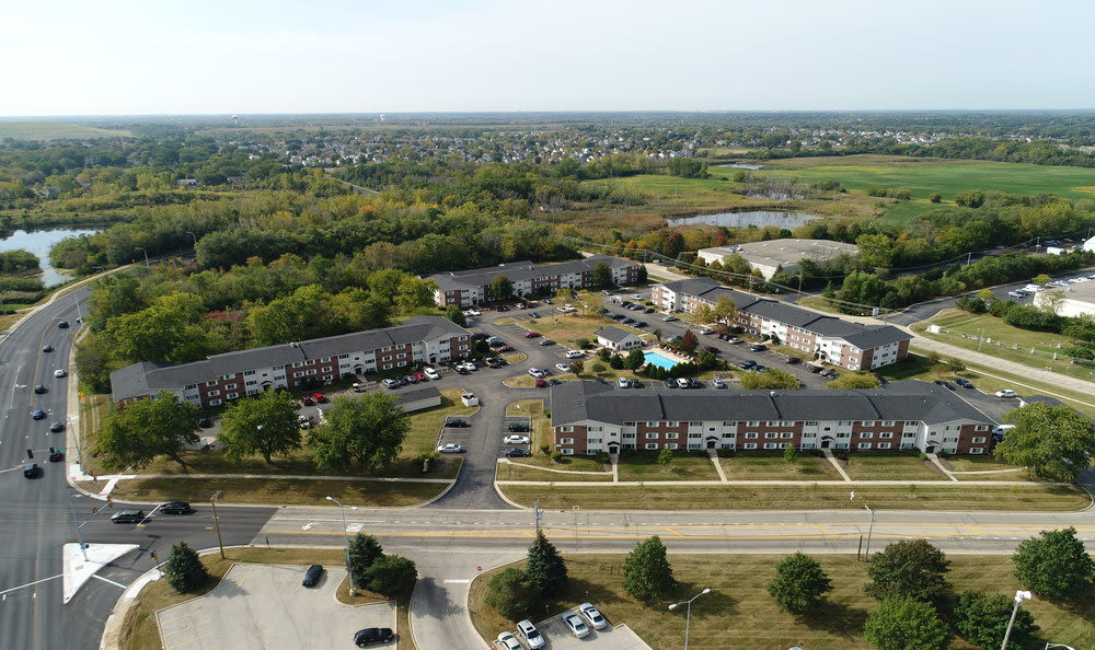 Aerial photo of West Line Apartments in Hanover Park, Illinois