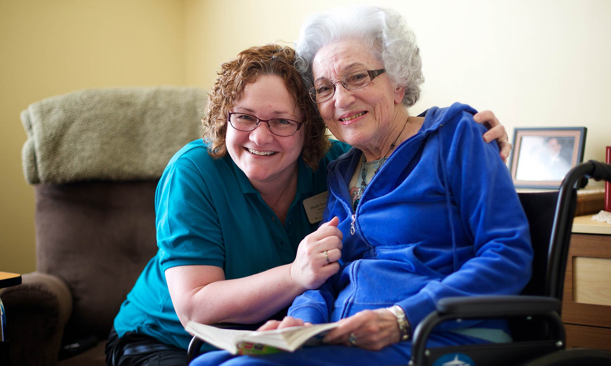 Resident and caregiver at Clermont Park