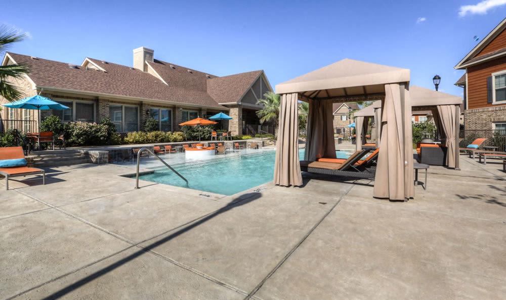 Pool cabanas at Villas at Spring Trails