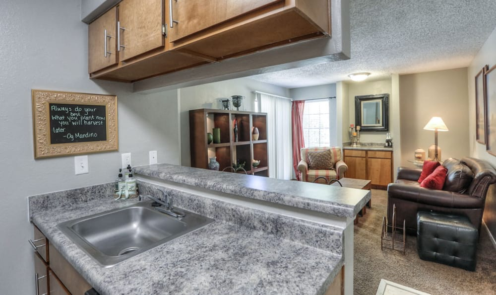 Kitchen with view to living room at Copper Mountain