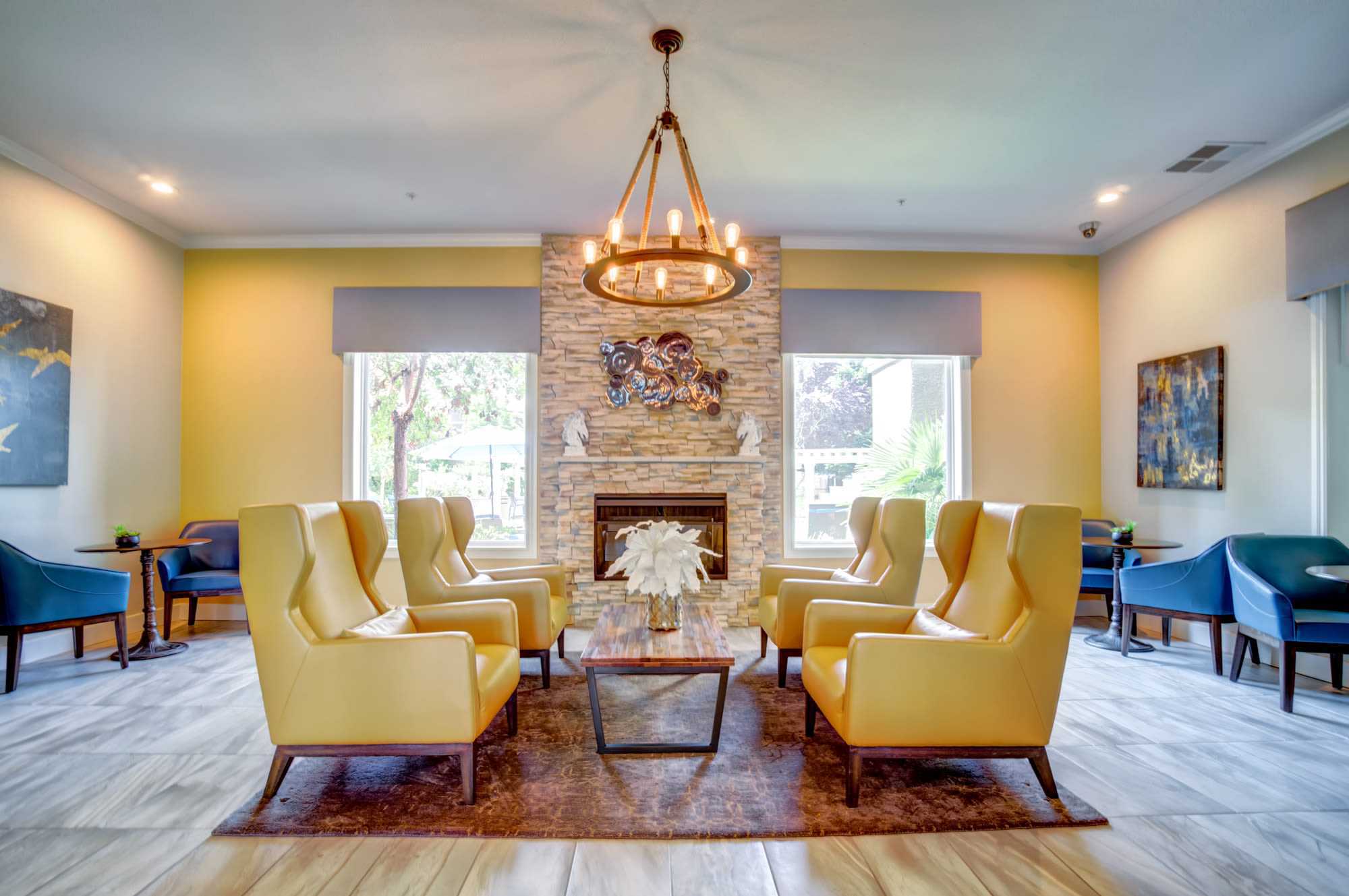 Community Lounge with fireplace at Hawthorn Village Apartments in Napa,CA
