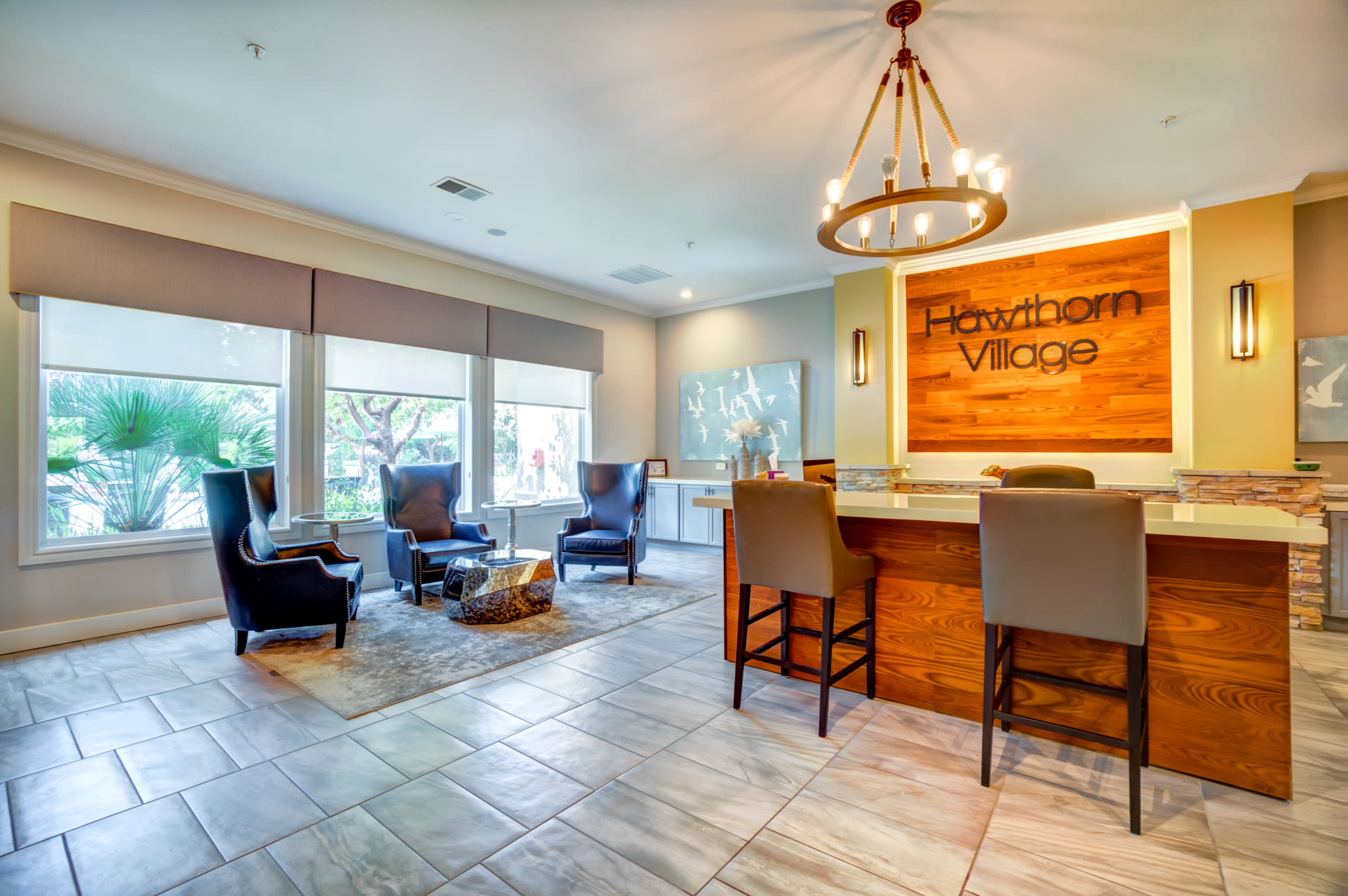interior leasing office at Hawthorn Village Apartments in Napa,CA