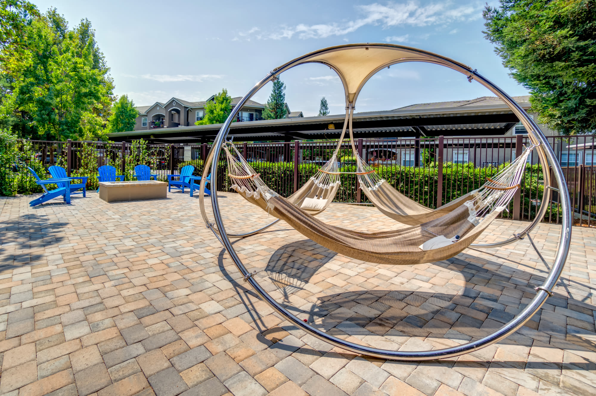 Outdoor Hammocks at Hawthorn Village Apartments in Napa