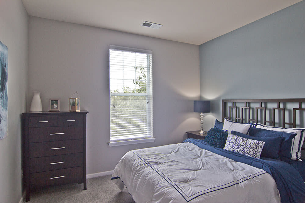 Model bedroom at Overlook Apartments in Elsmere, KY
