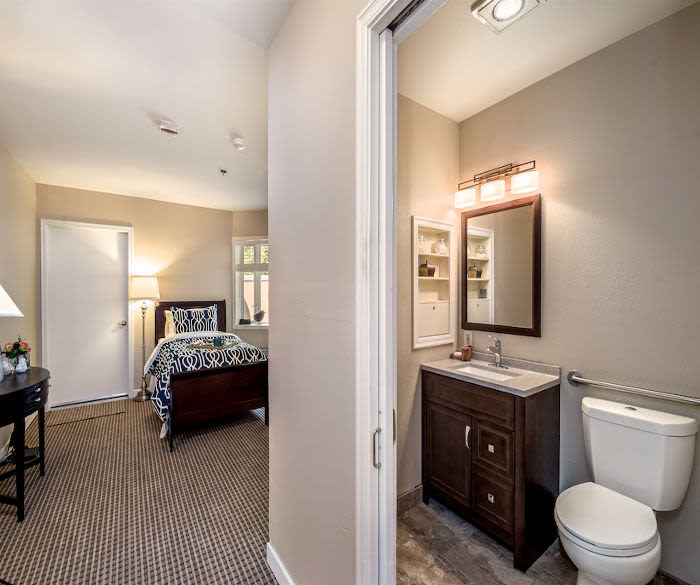 Enjoy a bathroom at Pacifica Senior Living Lynnwood senior living resident
