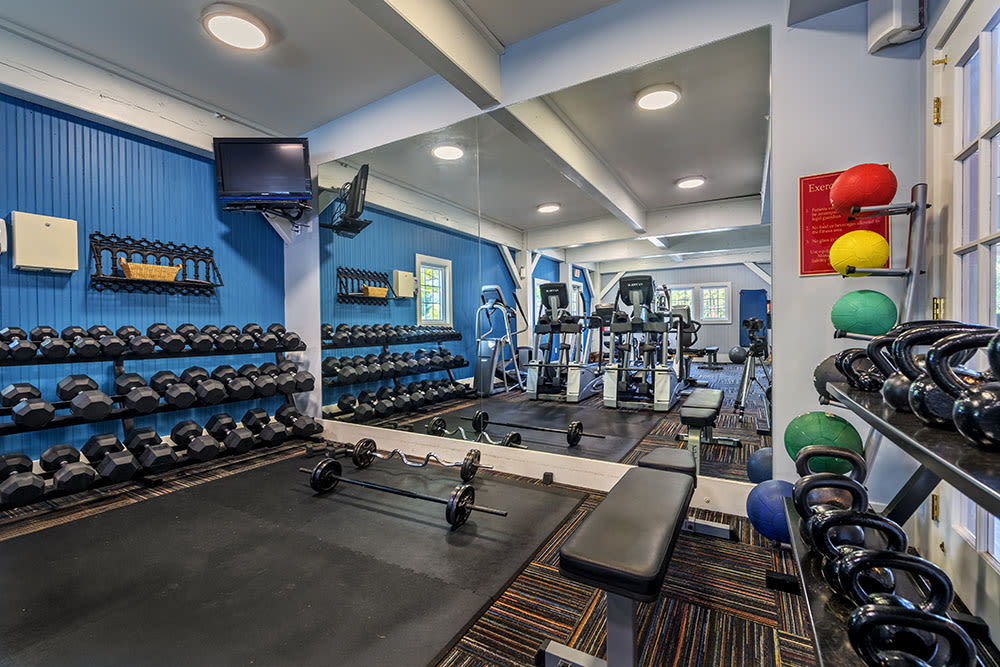 Stay healthy in our well equipped fitness center at The Waterfront Apartments