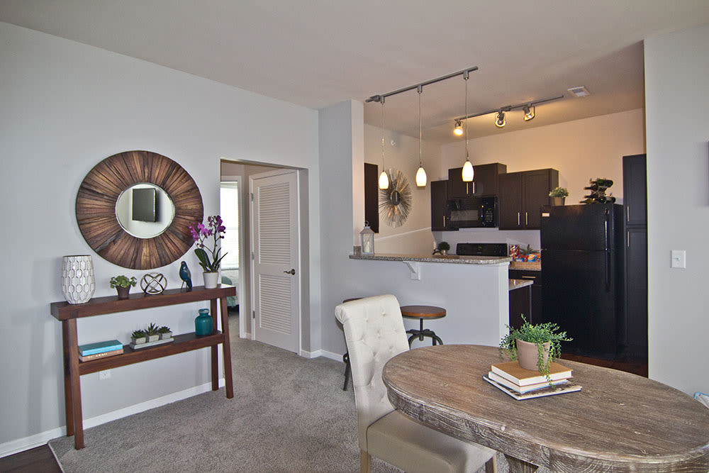 Dining area and kitchen entrance at Overlook Apartments