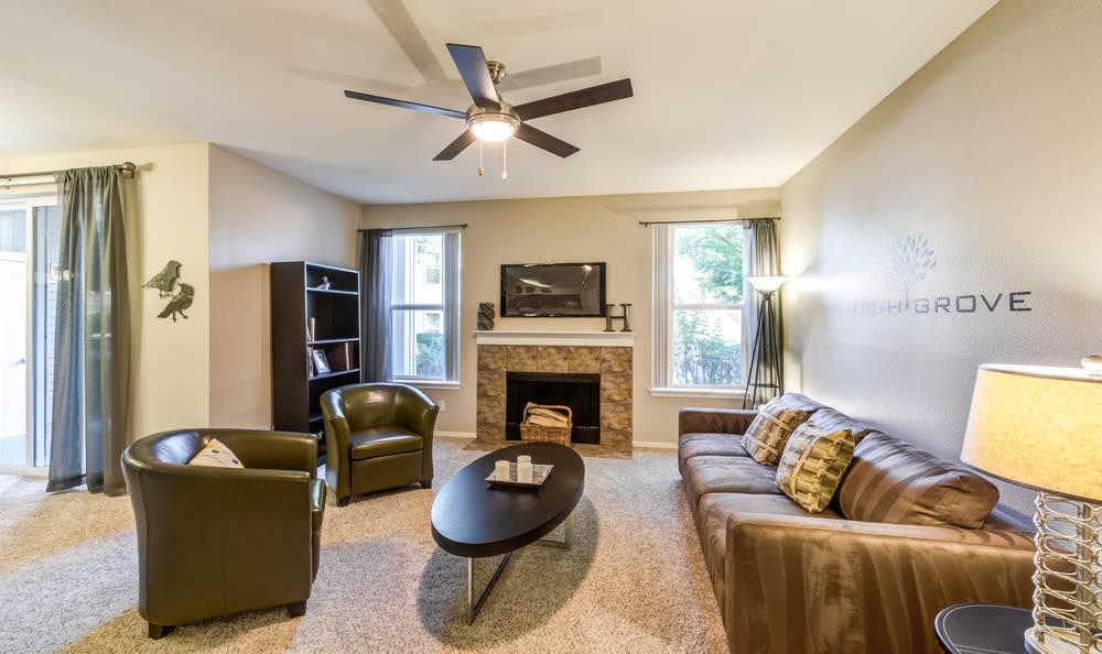 Living Room at HighGrove Apartments in Everett, WA