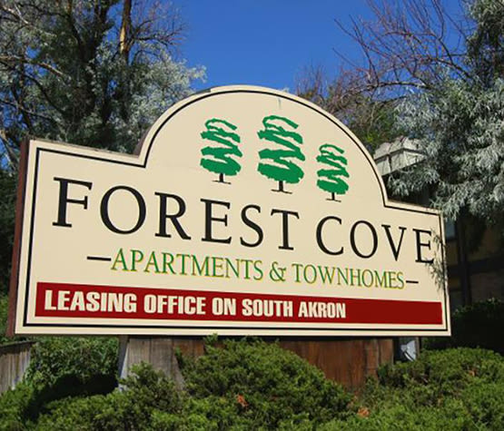 Our sign welcoming residents and their guests at Forest Cove Apartments